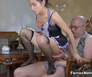 Sweet maid Veronica is going to have her sweet snug girl pussy busted wide open by bald old man Leonard B who has to get him some of that gripping girl vagina right now. The shy chick sees he's got a hardon and soon is in the den sucking that pulsing fat dick of his.  Dude so bangs that sweet sexy pussy that his thick meaty member almost pops out of the top of her head.