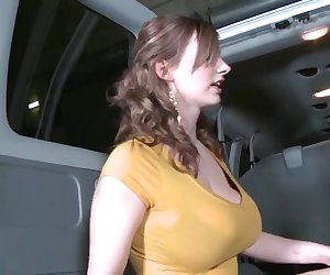 Hot big boobed girl gets fucked hard by a stranger dick in the car