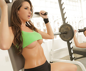 Every time Kortney Kane goes to the gym to do some circuit training, there's always some creeper checking out her toned tummy and awesome rack. But when she spotted the big bulge in Keiran Lee's shorts, she realized she'd finally found a creeper that she's down to fuck! She went over to him and grabbed his cock, then he lifted up her top so he can suck on her big fake tits. Once his dick was rock hard and ready for action, Kortney gave him a nice sensual blowjob, sucking on the balls and deepthroating the shaft. Finally, Keiran went balls deep in her tight pink pussy, fucking her all over the gym and then blowing a huge facial cumshot all over her smiling face!