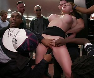Public fucking with strangers groping and thick cock ramming her pussy and ass, is easier to dream about than to actually live out. Krissy Lynn is learning this the hard way as she tires to fulfill her fantasy under the stress of many hands, cocks and mouths touching her body and demanding she suck dick and take it.