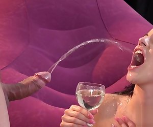 Perfect centerfold gets her soft vagina entire of warm piss and squirts