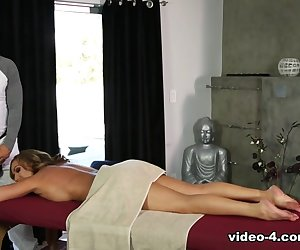 When Richelle Ryan complains to her brother-in-law masseur Derrick Pierce that her husband is always working late, he invites her to come by the spa for a nice, relaxing massage. She shows up for the treatment, but feels really awkward because she doesn't know how her husband will react to Derrick giving her a full body massage. Derrick tells her to forget that, he's a professional and this is his job. She'll be covered with a towel. It will be entirely appropriate. After she gets undressed and on the table, he begins to massage her with oil and comments on the tension she's storing in her back muscles. She appreciates his skill at relieving the pressure, but when his hands slide up her hamstrings to her glutes, she objects that he touches her so close to her private area. They agree to move onto the next section, and she turns onto her back. She insists on covering her huge boobs with her hands. <br><\/br>But Derrick insists she loosen up and let him complete the massage the way it's meant to be given. She concedes and relinquishes her hold on her breasts, allowing him to massage them with his big strong hands. It's such a  nice sensation she closes her eyes. He takes the opportunity to sneak his hand down his pants and stroke his dick a little. He lifts up the towels and sneaks a lick of her pussy. That arouses her from her relaxation. She tries to stop him but Derrick insists that they both need to relax. As long as her husband doesn't find out, she agrees he can keep licking her. Meanwhile, she slurps on his rod like a very thirsty girl. Then he treats her pussy to a taste of his hardon. She cums on it instantly, and keeps taking a pounding of his cock. After cumming again in 69, she lets him give her pussy more attention. She spreads her legs wide apart, and squeezes the cum from Derrick's dick, taking a squirt on her tits.