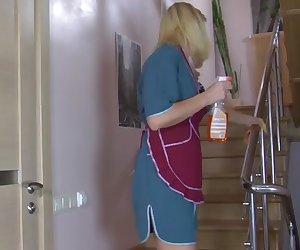 Man fuck Russian mature maid at home