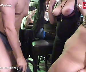 German girlfriends were at a bar when a stud came in and started flirting with one of them, what he didnt realize was that they were both horny and didn't care to get fucked in front of other people