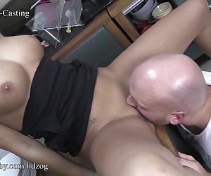 German amateur babe with big natural tits begins sucking her boss cock at work until he is hard enough to ride him and get his cum all over her beautiful face