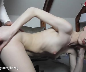 German amateur skinny babe with small tits and round ass lets her boyfriend fuck her in the ass for the first time while filming POV