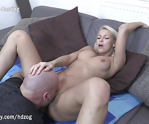 Gorgeous blonde babe with big natural tits gets her pussy licked and fingered before receiving a rough fuck at her first porn casting