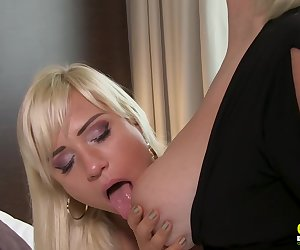 Two horny blondes enjoying lesbian old and young sex with licking Find full length videos on our network Oldnanny.com