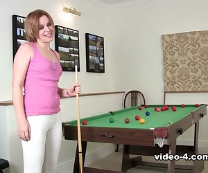 Minnie minx is going to show off some of her skills in pool. She might not have the best form but her body has the best form of all time. Enjoy this lovely hairy pussy!