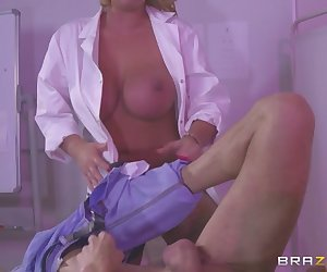 Dr. Darby is at it again, this time with well-hung patient Chris Diamond. Is his gargantuan cock worthy of her massive tits? Tune in to Doctor Adventures to find out!