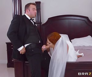 It's Lennox's wedding day and she's alone in her room, unsure if she really wants to do this! Her fiancé tries calling her but she won't pick up, so he sends his best man Chad in there to see what's up. But holy shit: he catches her masturbating! She starts panicking and telling Chad she can't get married, and he tries to calm her down. To his shock she comes on to him strong and since you can't say no to a bride on her wedding day, he fucks her brains out while her fiancé waits downstairs.