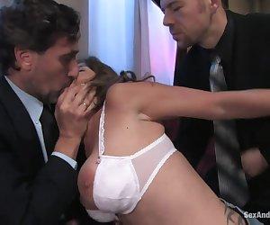 Felony is back for another incredible display of sexual submission! In this role play, Felony agrees to pay off her husbands debt by entertaining Steve Holmes and Eric Everhard. She gets manhandled and humiliated, tied up and fucked in every hole. Her reactions and orgasms are priceless. Felony is also double penetrated with her hands tied securely behind her back in this hot fantasy update!