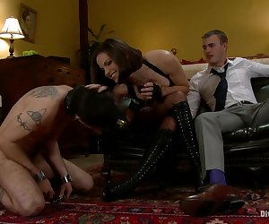 Christian Wilde is Bobbi Starr's sexy fuck toy. He's perfect. Beautiful body, amazing hard cock and knows just how to fuck and make her cum. Dylan Deap is Bobbi Starr's pathetic chastity cuckold slave. He does everything and anything she wishes just to be in her presence (because he knows he will never be good enough to fuck her) even if that means entertaining her random sexual conquests. Dylan is made to orally prepare her pussy to get fucked by Christian. He's made to watch her ride Christian's dick to orgasm while being verbally humiliated and locked in chastity. When it's time for Dylan's daily punishment, Bobbi invites Christian to come to her basement and watch. How embarrassing for Dylan! Being punished for having a pathetic dick in front of a guy that just fucked his mistress! Bobbi even locks Dylan up in a strategically situated body cage where he's made to watch Christian fuck Bobbi in the ass. Dylan is locked so close to the action he can smell the sex! Christian cums all over Bobbi's ass and Dylan is used as the cum cleaner! This filthy hot update includes cuckolding at its finest, chastity, spitting, boot worship, oral servitude, cum eating instruction, CBT, paddling, anal sex, humiliation, CFNM and more!!