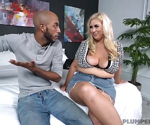 Curvaceous blonde woman, Lila Lovely got down and dirty with a black guy, just for fun