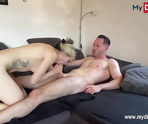 Gorgeous German blonde amateur with perfect body deepthroats the big dick of a fan and gets her face and glasses full of cum