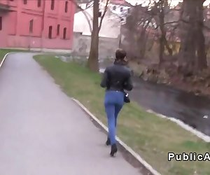 Czech dude stops beautiful Russian student in public and offers her money for tits flashing in his car and after that he bangs her tight pussy pov