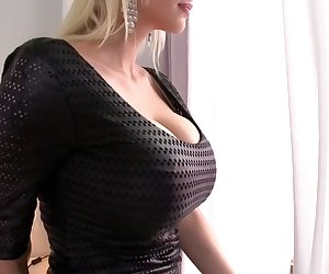 Sandra Star has always wanted to expose her body like this, so after letting her giant tits out of her cute little black and white set of lingerie, she plops right down on the penis she just got done sucking. Her blonde hair makes her just the type this stud is after, and after he's done plowing her, he cums right onto her chest. -->