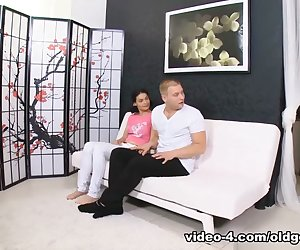 It took awhile but this dude was able to convince Diana to fuck this old guy. They sat on the couch while the old man played and sucked on her perky tits and hard delicious nipples. And after getting her pussy licked, she just had to have his cock in her mouth! And after fucking in a variety of positions including getting her pussy stuffed from behind, The guys had her get on her knees and the old dude blew his load while she smiled because she loves cum all over her!