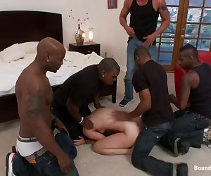 We play a game with Bobbi Starr. It is simple. If she can get away she gets an extra 100 bucks. For each article of clothing she can keep on she gets 25 bucks. Bobbi loses all the money immediately as five big men surround her and hold her down in human bondage. She struggles to get away as her ass and pussy are brutally pounded. This update focuses on human bondage and the struggle to get away. Watch as Bobbi is totally overpowered and controlled. Incapable of escaping or keeping cocks out of her holes. Bobbi deep throats huge black dicks while tied up, then gets DP'ed in bondage and without.