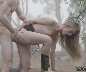 Slender blonde babe gets pussy eaten out and pounded outdoors