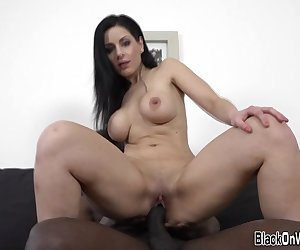 Pussy toying busty white milf rides and gets creampied by big black cock