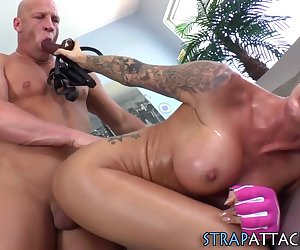 Bdsm hottie gets oral and strapon fucks guys ass till he cums