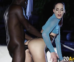 Butt rimmed babe interracially plowed for cum in mouth from big cock