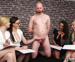 Cfnm judges rate naked bound losers cock in fetish femdom group