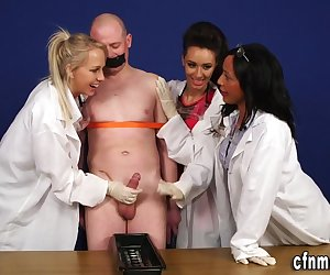 Cfnm scientist dominas experiment tugging bound subjects cocks