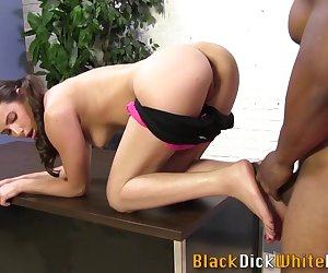 Cutie gets toes cumshot by black cock while masturbating