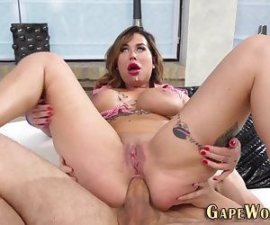 Inked busty european gets analized until gaping and gobbles shlong