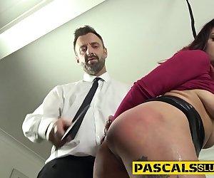 Bound fetish slut gets railed while toying her pussy masturbating