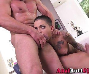 Double dicked anally fucked tattooed babe sucks shlongs for jizzed mouth