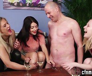 Partying cfnm brit babes jerk naked moron in fetish femdom group