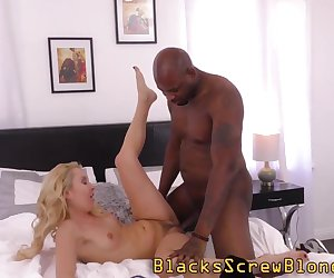 Cute blonde gets fingered and fucked by black dude before facial