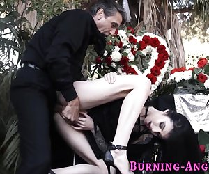 Goth hottie gets railed and fingered before getting cumshot facial
