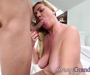 Granny give titjob for cum on big boobs after sucking and fucking