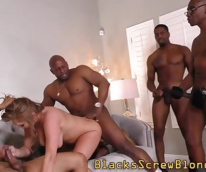 Slut gets bbc gangbang and sucks black dicks for messy facials