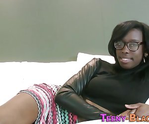 Ebony babe gets face cummed after sucking dick and fucking