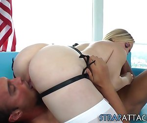 Strapon babe sucks subs dick and gets pussy eaten and fucked