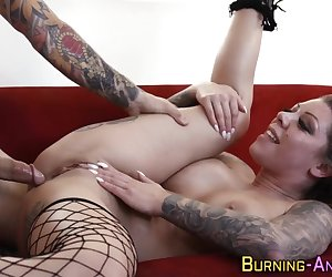 Busty inked goth milf gets pussy plowed and ass spanked for cum in mouth