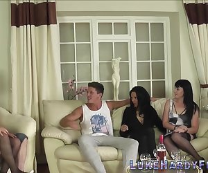 British milfs ride cocks before sucking and tugging Luke Hardy in group