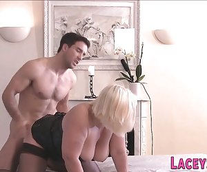 Busty british grandmother gets dped and sucks cocks in threesome