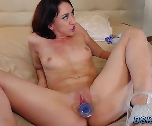 Babe gets ass toyed and fucked after deepthroating cock and oral