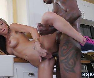 Busty blonde milf pornstar rides sucks and tugs long black shlong