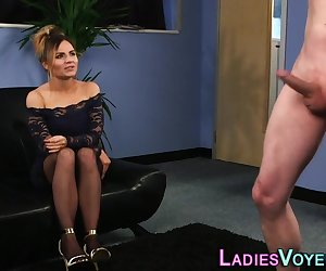 Cfnm glamorous clothed domina blonde laughs at cock tugging loser