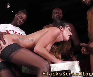 Milf gets interracially fucked during gangbang and gets facialized
