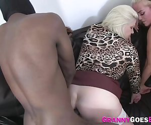 Gran in hardcore interracial threesome gets pussy eaten by busty milf
