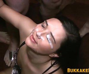 Sluts get faces bukkake jizzed during hardcore blowbang