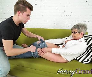 Feet sucked grandmother gets plowed and gives head for cum in mouth